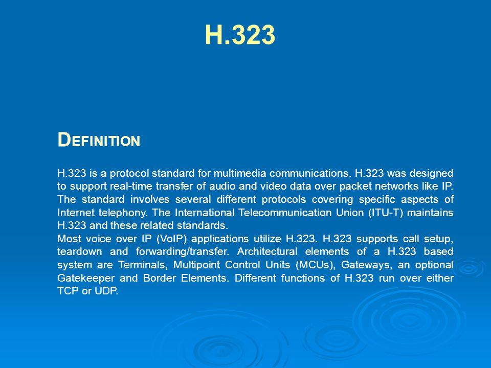 H.323 is a protocol standard for multimedia communications. H.323 was designed to support real-time transfer of audio and video data over packet netwo