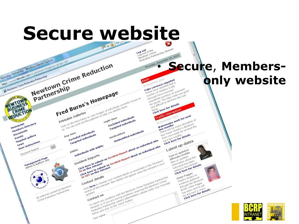 Secure website Secure, Members- only website