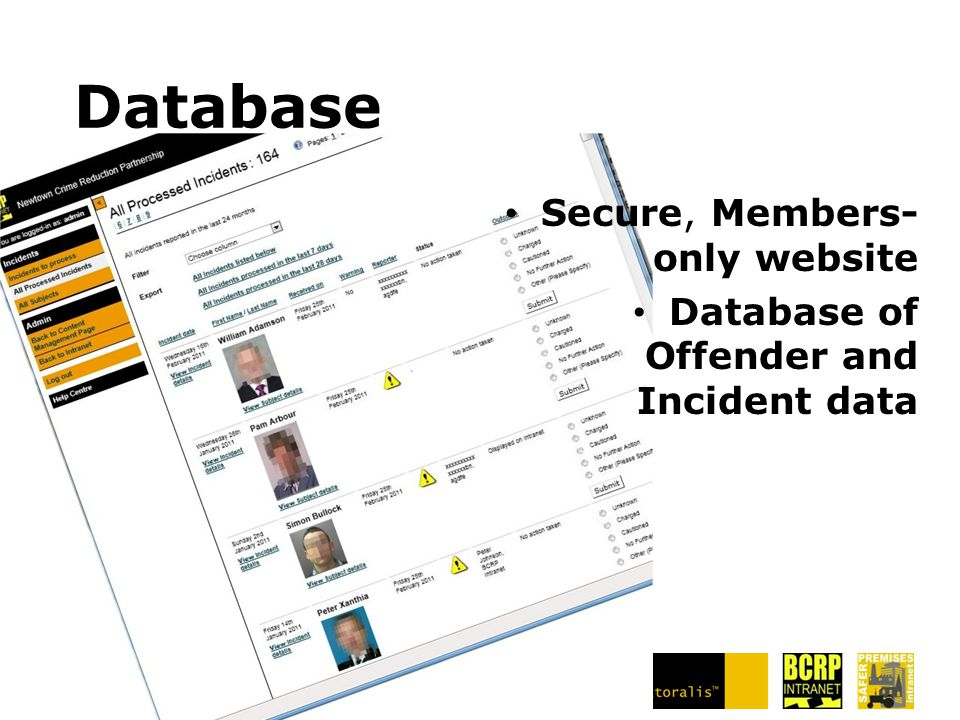 Database Secure, Members- only website Database of Offender and Incident data