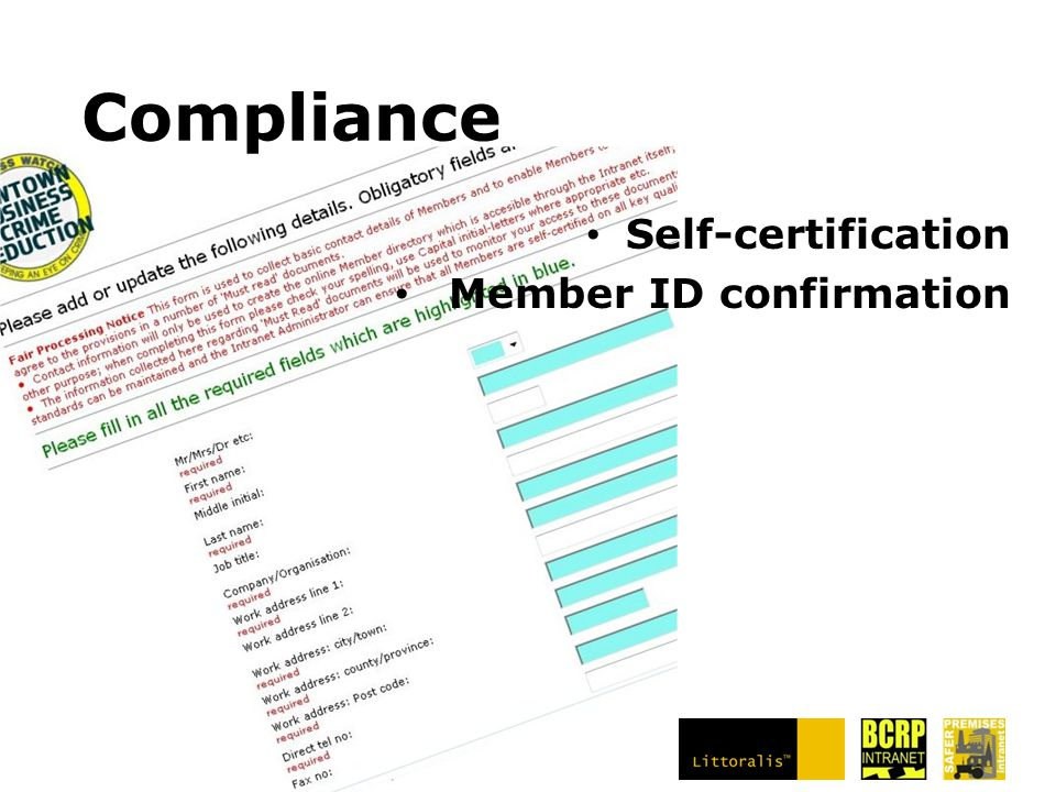 Compliance Self-certification Member ID confirmation