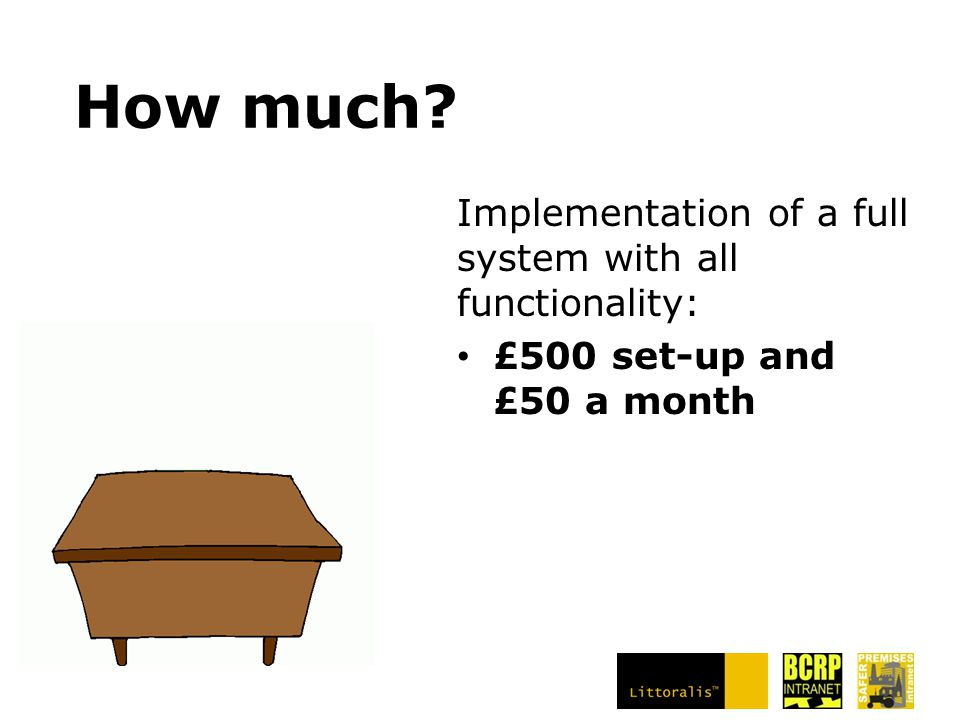 How much? Implementation of a full system with all functionality: £500 set-up and £50 a month
