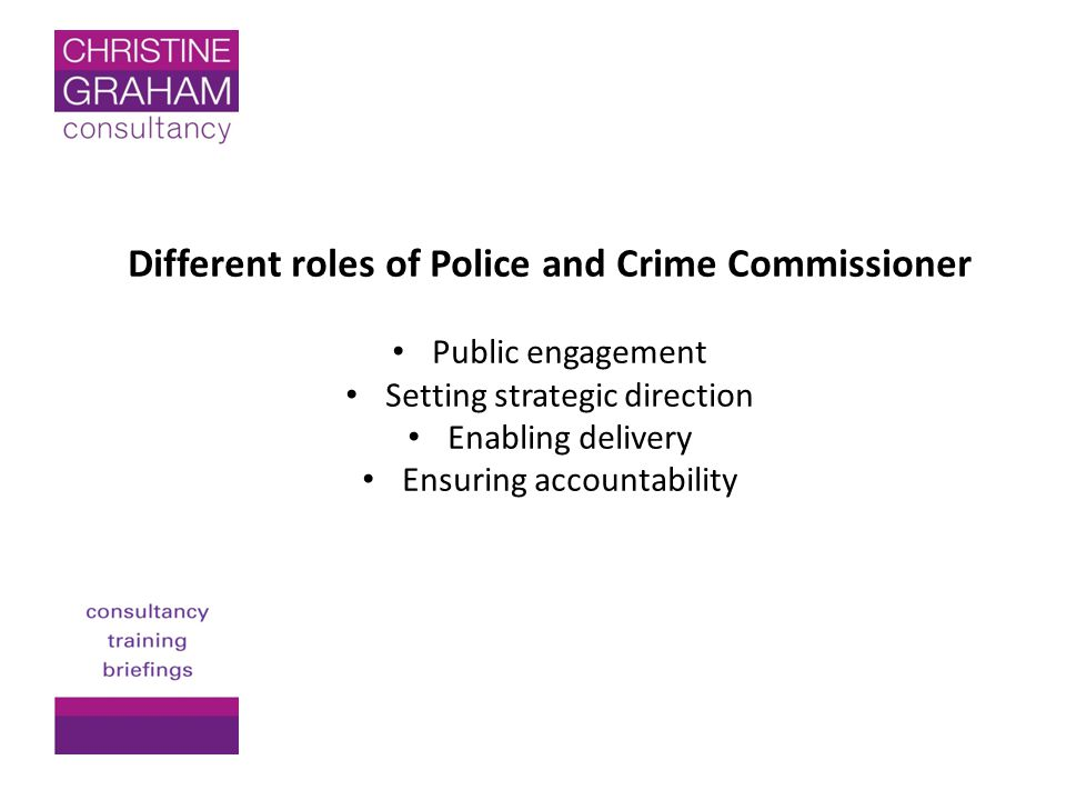 Different roles of Police and Crime Commissioner Public engagement Setting strategic direction Enabling delivery Ensuring accountability