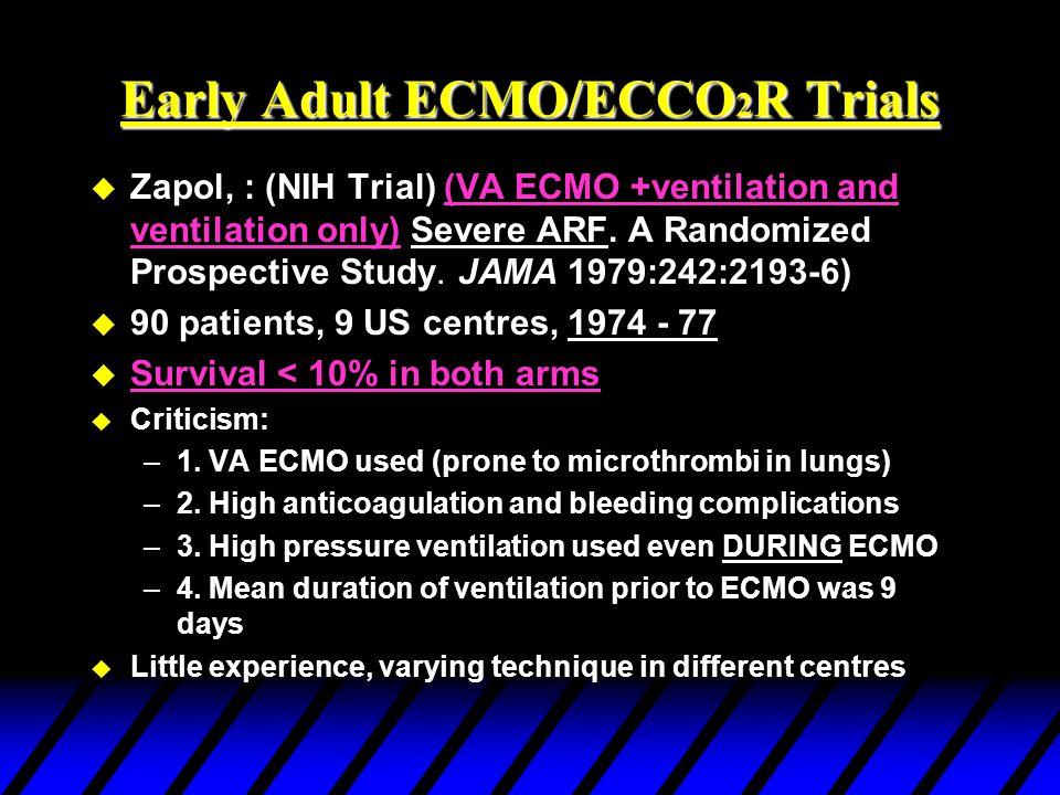 RCTs of ECLS in Adults u NIH Adult ECMO Trial Zapol et al JAMA 242:2193-96,1979 u PCIRV vs ECCO2R Morris et al, Am J Respir Crit Care Med 1994;149:295-305.