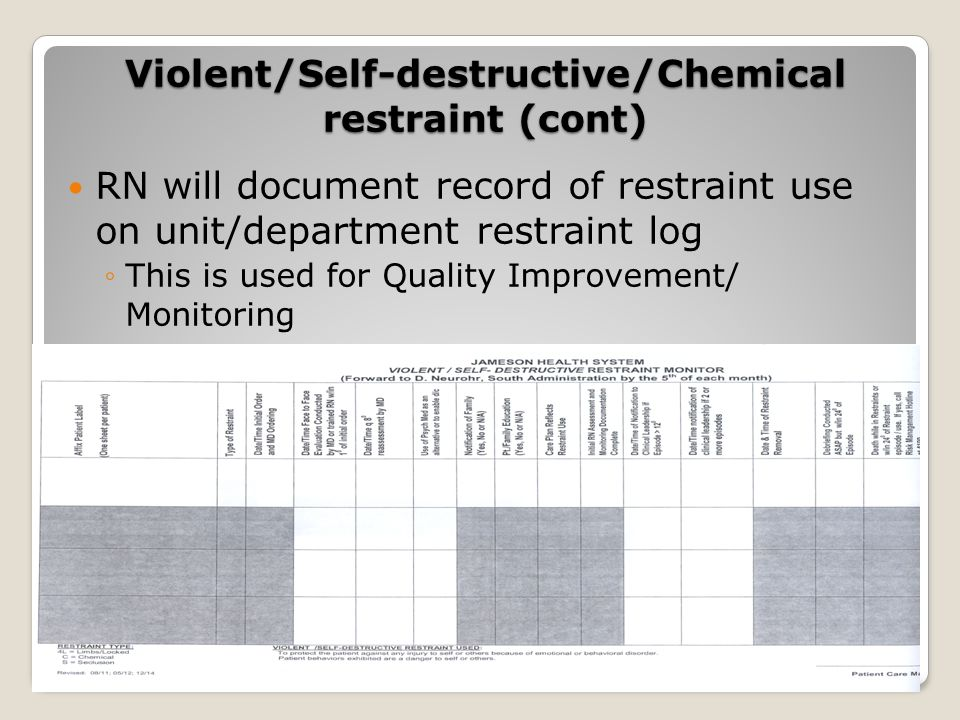 RN will document record of restraint use on unit/department restraint log ◦This is used for Quality Improvement/ Monitoring Violent/Self-destructive/Chemical restraint (cont)
