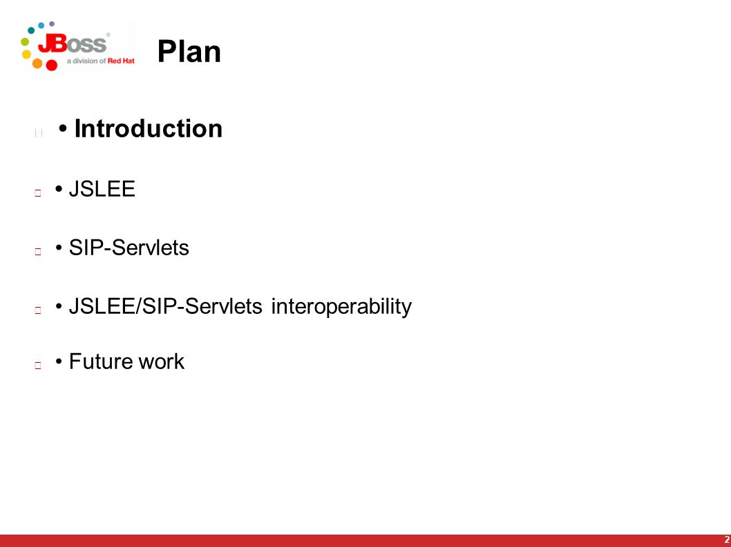 2 Plan Introduction JSLEE SIP-Servlets JSLEE/SIP-Servlets interoperability Future work