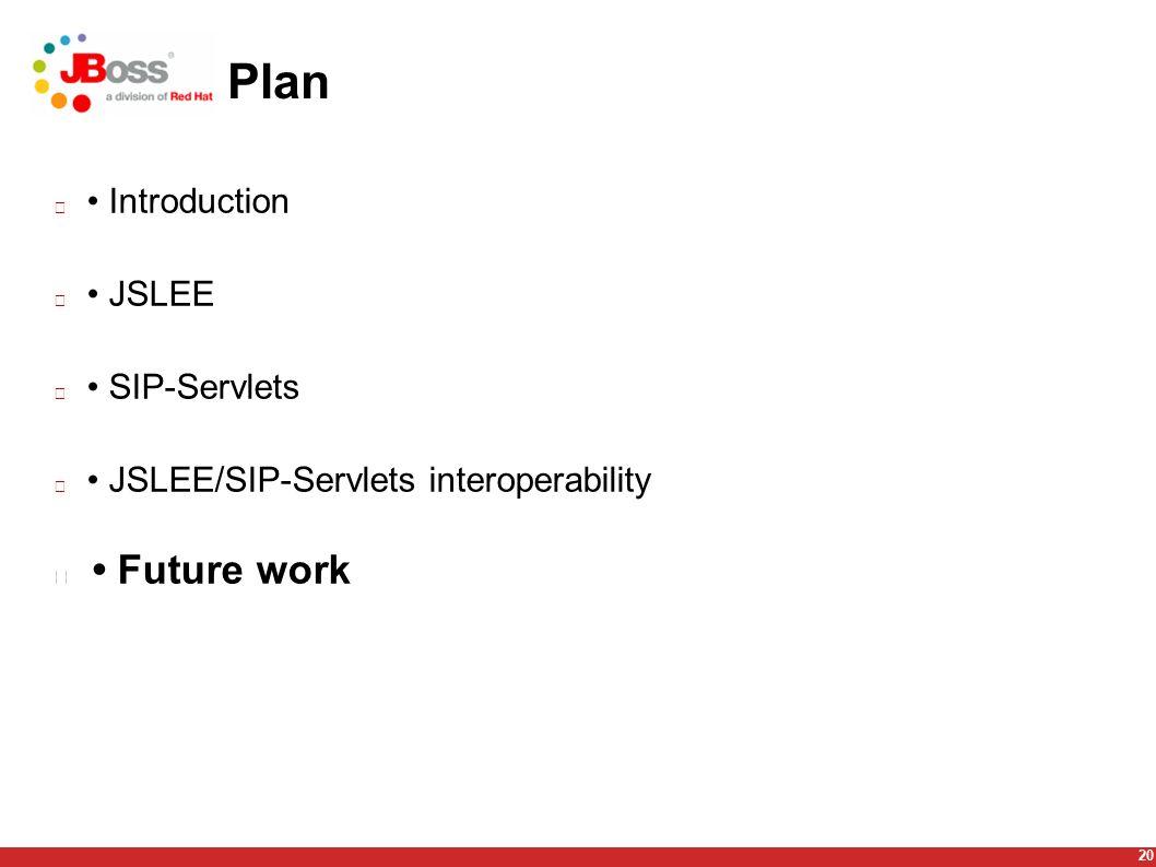20 Plan Introduction JSLEE SIP-Servlets JSLEE/SIP-Servlets interoperability Future work