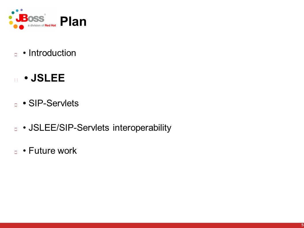 5 Plan Introduction JSLEE SIP-Servlets JSLEE/SIP-Servlets interoperability Future work