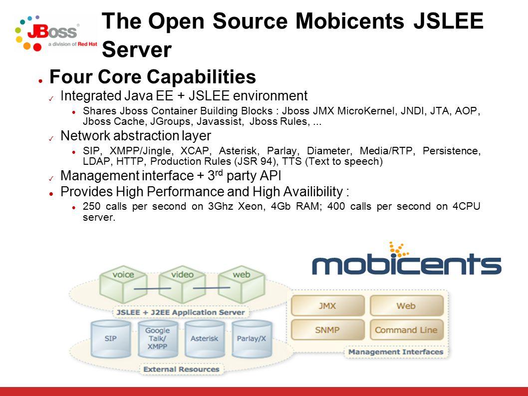 The Open Source Mobicents JSLEE Server ● Four Core Capabilities ✓ Integrated Java EE + JSLEE environment Shares Jboss Container Building Blocks : Jboss JMX MicroKernel, JNDI, JTA, AOP, Jboss Cache, JGroups, Javassist, Jboss Rules,...