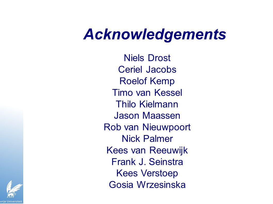 Acknowledgements Niels Drost Ceriel Jacobs Roelof Kemp Timo van Kessel Thilo Kielmann Jason Maassen Rob van Nieuwpoort Nick Palmer Kees van Reeuwijk F
