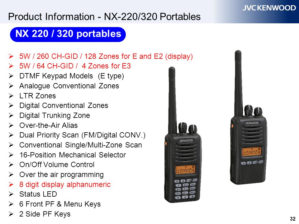 32 Product Information - NX-220/320 Portables  5W / 260 CH-GID / 128 Zones for E and E2 (display)  5W / 64 CH-GID / 4 Zones for E3  DTMF Keypad Mod