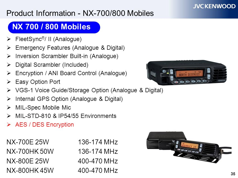 35 Product Information - NX-700/800 Mobiles  FleetSync ® / II (Analogue)  Emergency Features (Analogue & Digital)  Inversion Scrambler Built-in (An