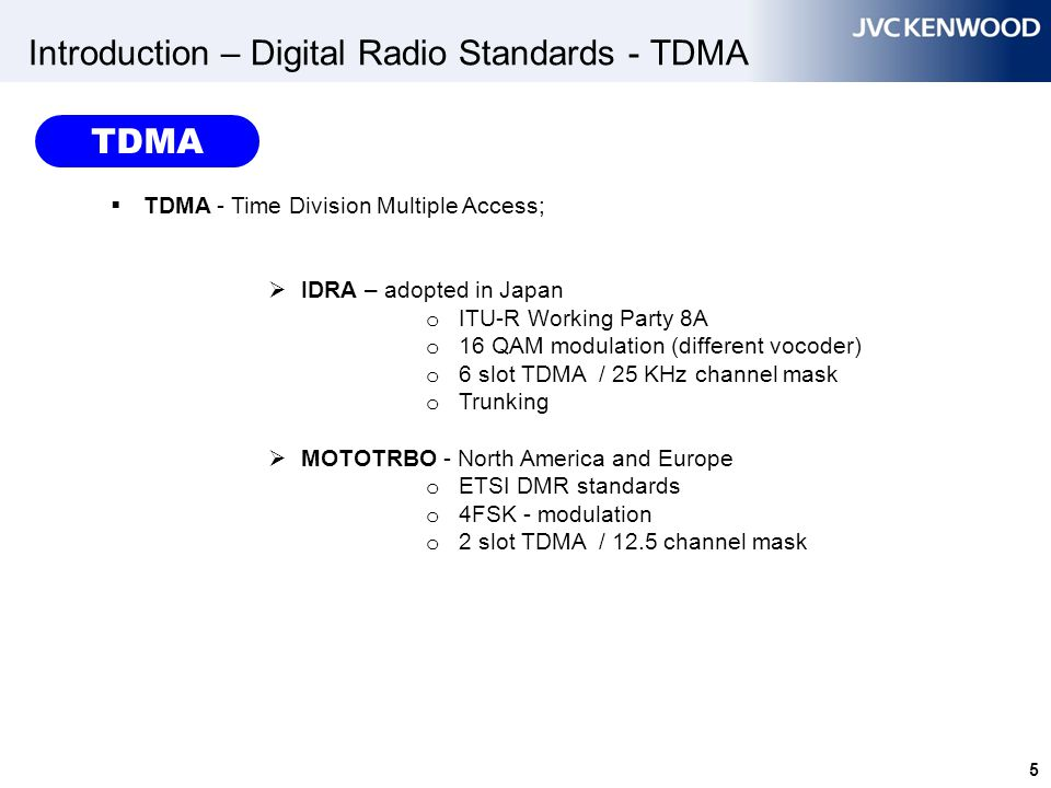 6 Introduction – Digital Radio Standards - FDMA  FDMA - Frequency Division Multiple Access;  Project 25 - primary adopted for North America o ITU-R Working Party 8A.