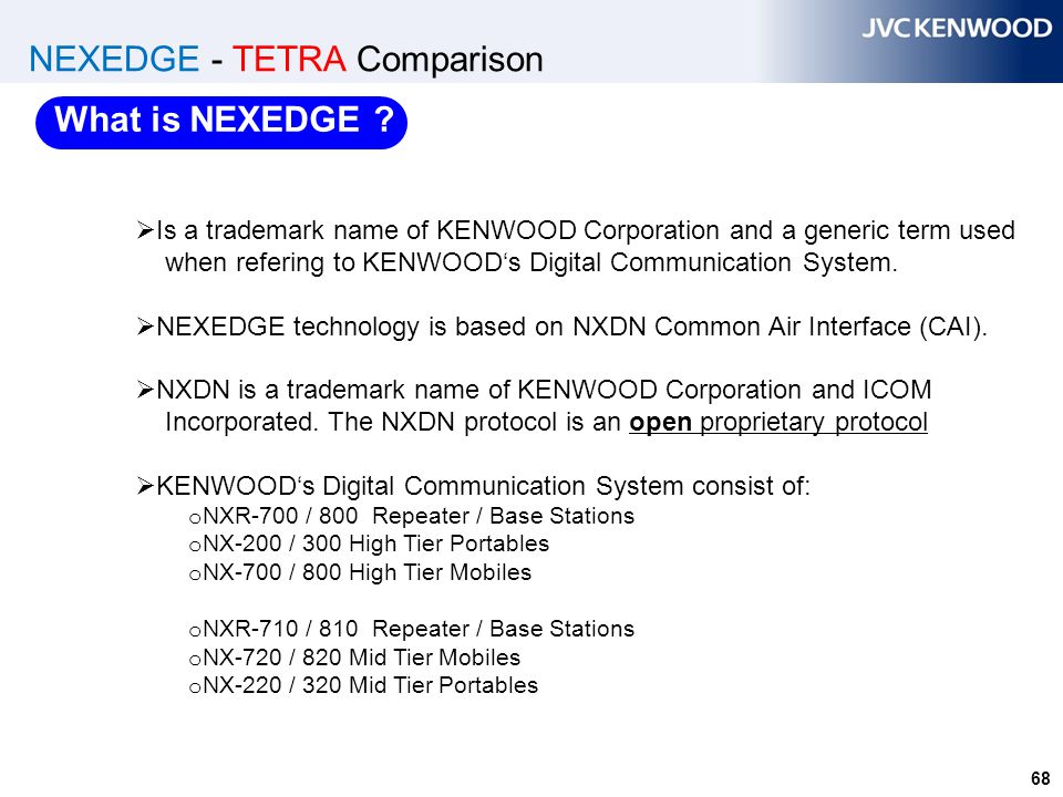 68 NEXEDGE - TETRA Comparison  Is a trademark name of KENWOOD Corporation and a generic term used when refering to KENWOOD's Digital Communication Sy