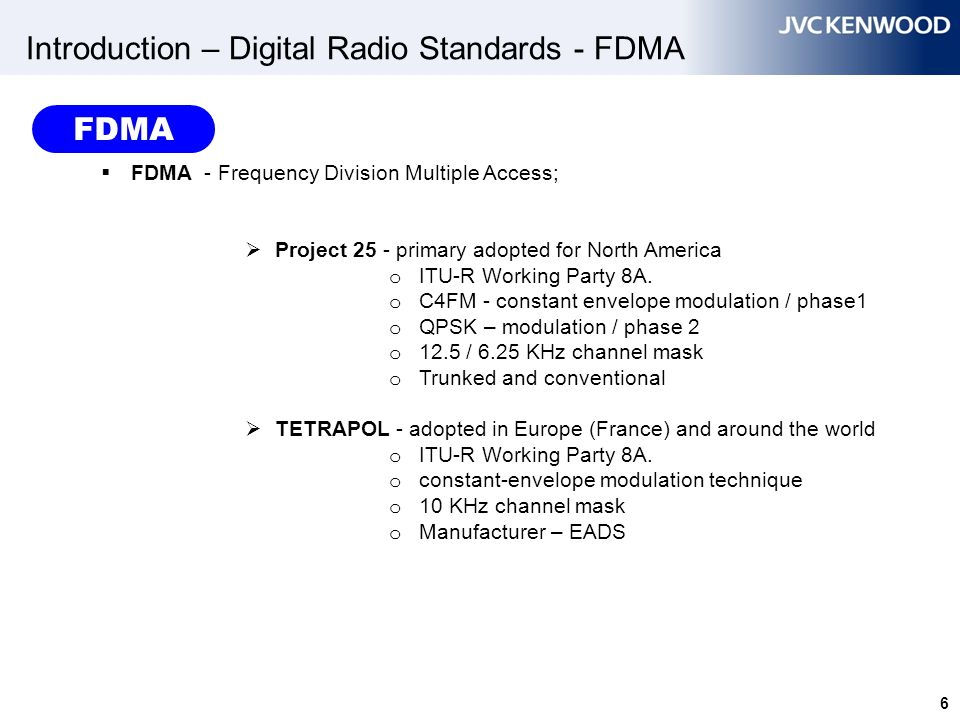 27 FDMA Spectrum Efficiency 12.5 kHz 6.25 kHz 12.5 kHz 6.25 kHz 12.5 kHz channel emission mask FDMA 1 voice path @ CH 12.5 KHz efficiency 6.25 KHz efficiency 6.25 kHz 6.25 kHz x 2 6.25 kHz Can allocate another channel within 12.5 kHz channel emission mask if offset the Center Frequency Improve Interference resistance FDMA – Frequency Division Multiple Access