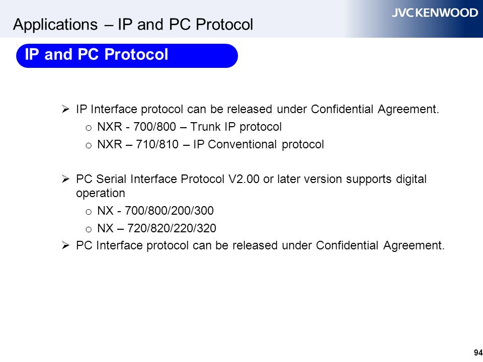 94 Applications – IP and PC Protocol  IP Interface protocol can be released under Confidential Agreement. o NXR - 700/800 – Trunk IP protocol o NXR –