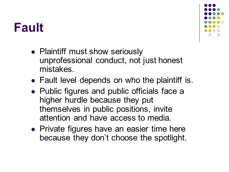 Fault Plaintiff must show seriously unprofessional conduct, not just honest mistakes.