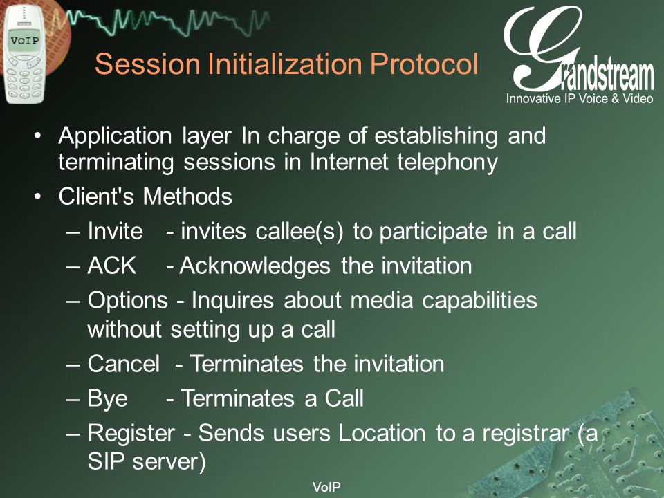 VoIP Session Initialization Protocol Application layer In charge of establishing and terminating sessions in Internet telephony Client's Methods –Invi