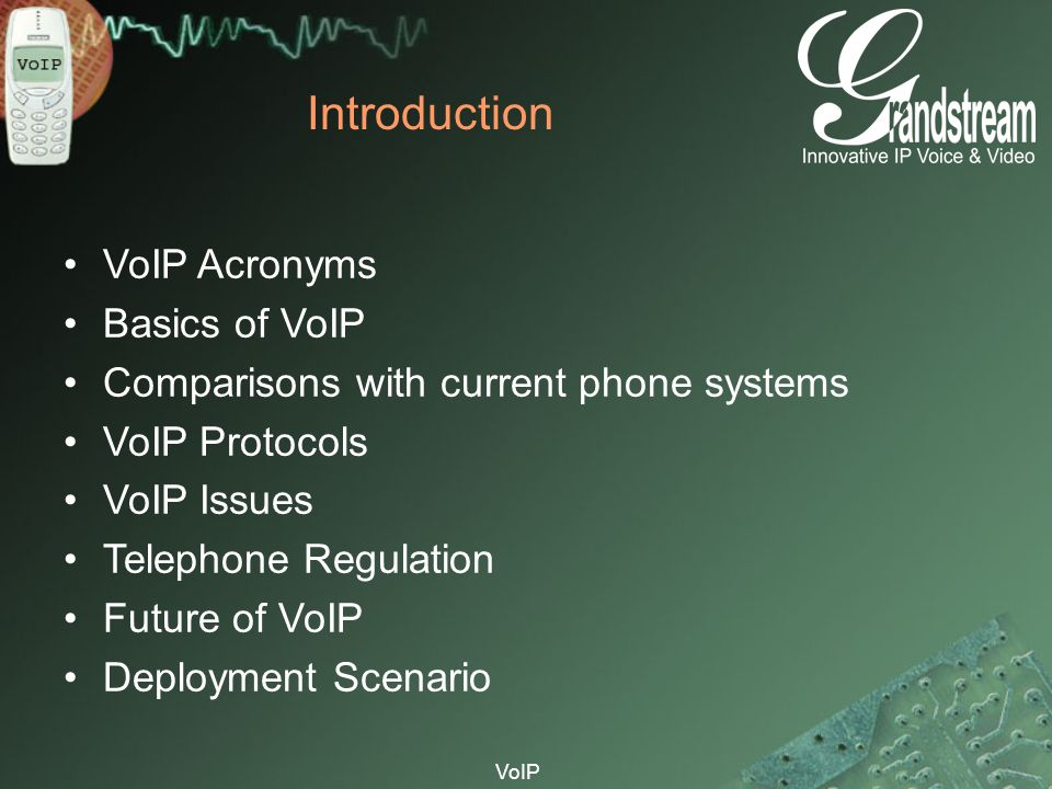 VoIP Introduction VoIP Acronyms Basics of VoIP Comparisons with current phone systems VoIP Protocols VoIP Issues Telephone Regulation Future of VoIP D