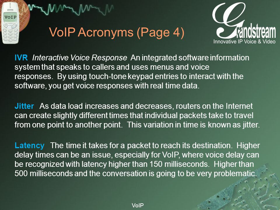 VoIP VoIP Acronyms (Page 4) IVR Interactive Voice Response An integrated software information system that speaks to callers and uses menus and voice r