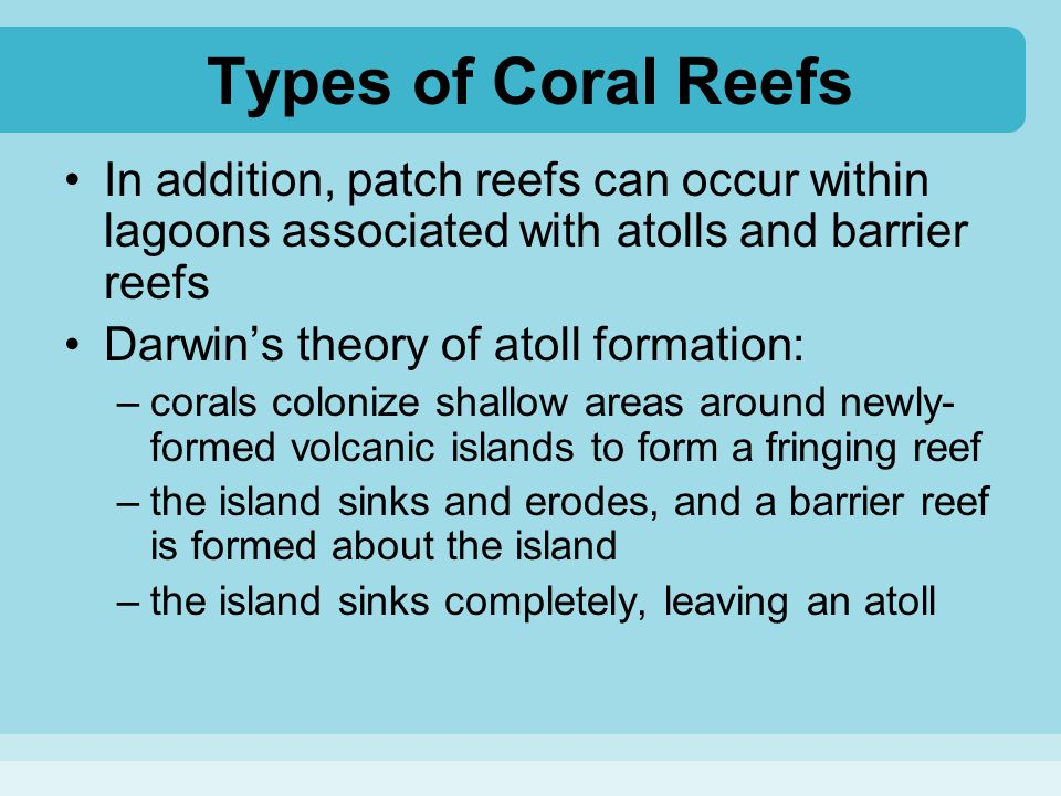 Types of Coral Reefs In addition, patch reefs can occur within lagoons associated with atolls and barrier reefs Darwin's theory of atoll formation: –c