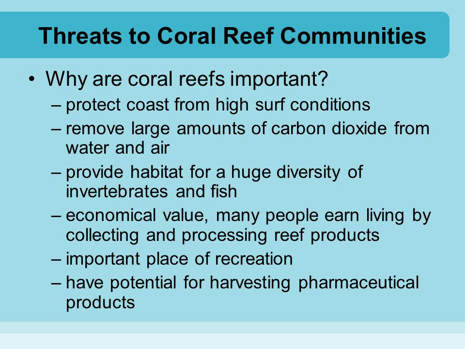 Threats to Coral Reef Communities Why are coral reefs important? –protect coast from high surf conditions –remove large amounts of carbon dioxide from