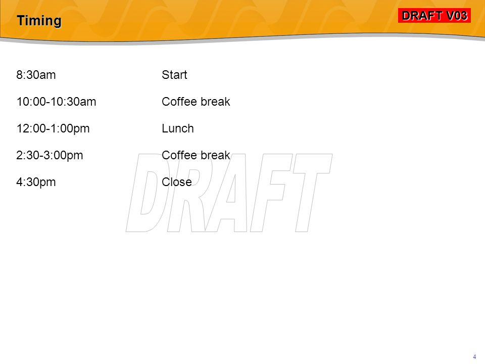 DRAFT V03 DRAFT V03 4 Timing 8:30amStart 10:00-10:30amCoffee break 12:00-1:00pmLunch 2:30-3:00pmCoffee break 4:30pmClose