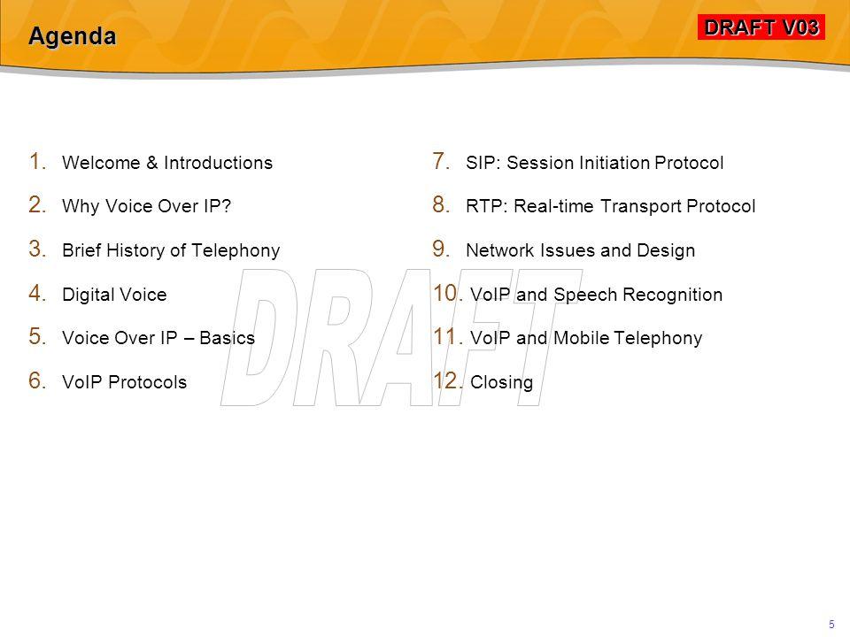 DRAFT V03 DRAFT V03 5 Agenda 1.Welcome & Introductions 2.