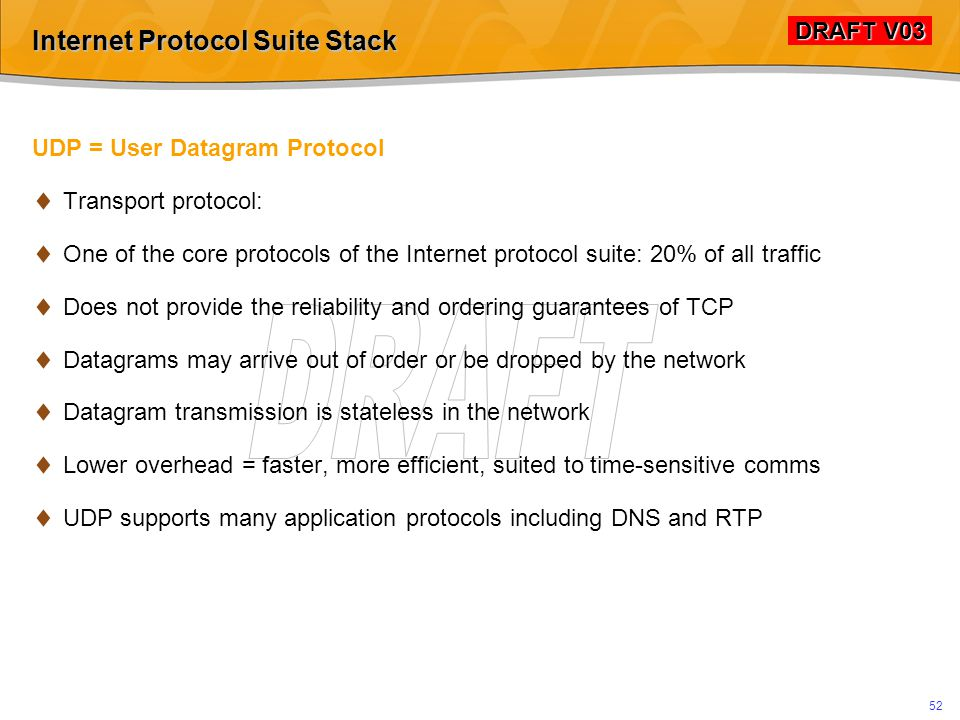 DRAFT V03 DRAFT V03 51 Internet Protocol Suite Stack TCP/IP for Voice Over IP  Good for session management  H.323 / ASN.1 built on TCP/IP  Sub-optimal for near-realtime audio transport  Latency  Jitter  Aside: Utilized for Skype