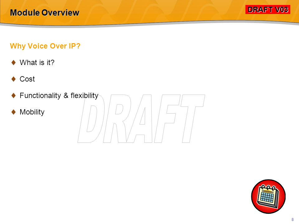 DRAFT V03 DRAFT V03 78 SIP: Simple Peer-to-Peer Session A B INVITE From:A To:B A-SDP 100 TRYING 180 RINGING  Play ring-tone to user B Play ring-tone to user A  User makes a call to B   B User answers call 200 OK B-SDP RTP Audio Stream ACK A hears B   B hears A  B hangs up BYE 200 OK  B terminates RTP audio - - - Call Established - - - A terminates audio  - - - Session Over - - - - - - Waiting for answer - - - SIP Messages Status codes RTP