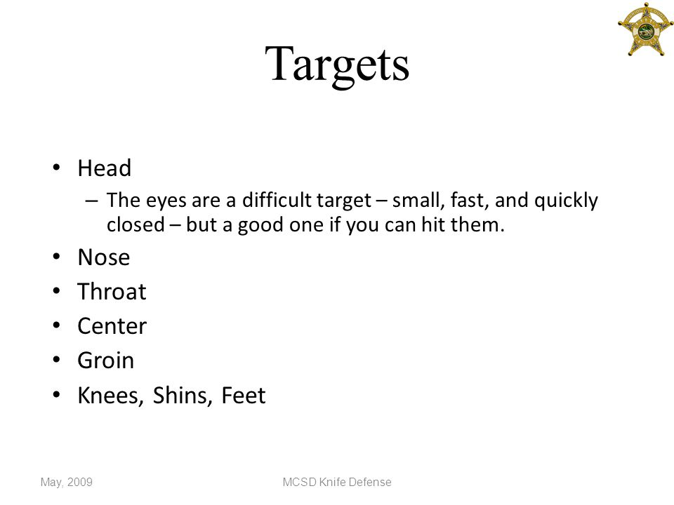 Targets Head – The eyes are a difficult target – small, fast, and quickly closed – but a good one if you can hit them.