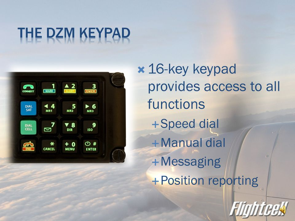  NVG compatible display  Shows  Network and call status information  Aircraft position  Incoming and outgoing messages