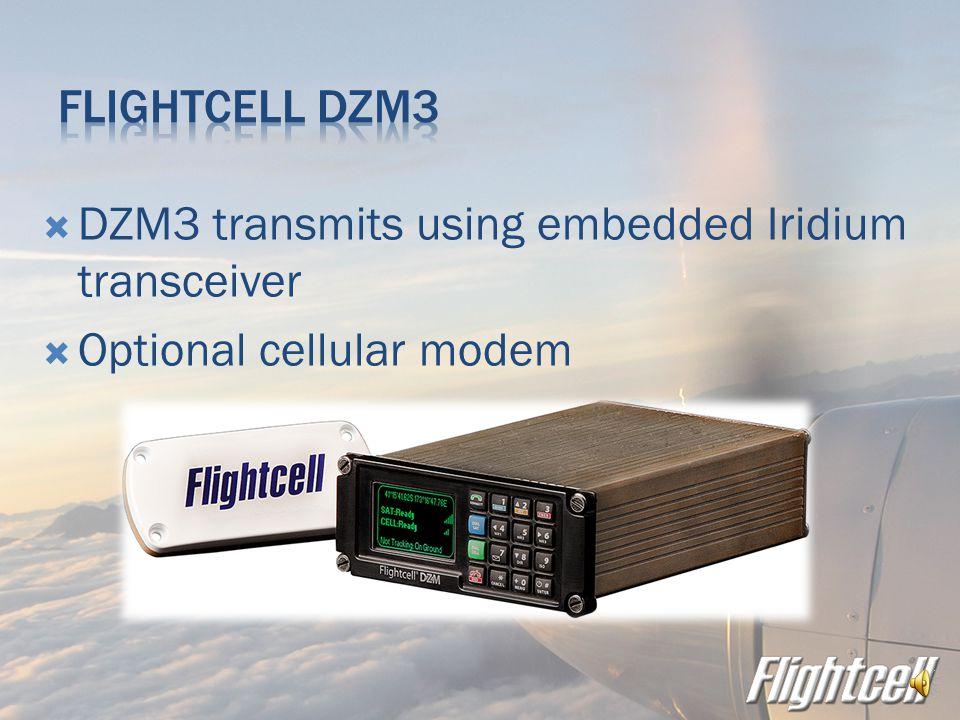  DZM2 transmits using Iridium satphone in Flightcell phone cradle  Iridium phone removable for use on the ground  Optional cellphone modem