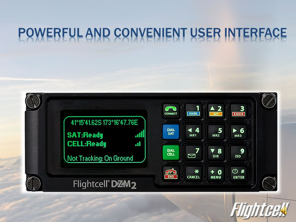  DZM3 transmits using embedded Iridium transceiver  Optional cellular modem