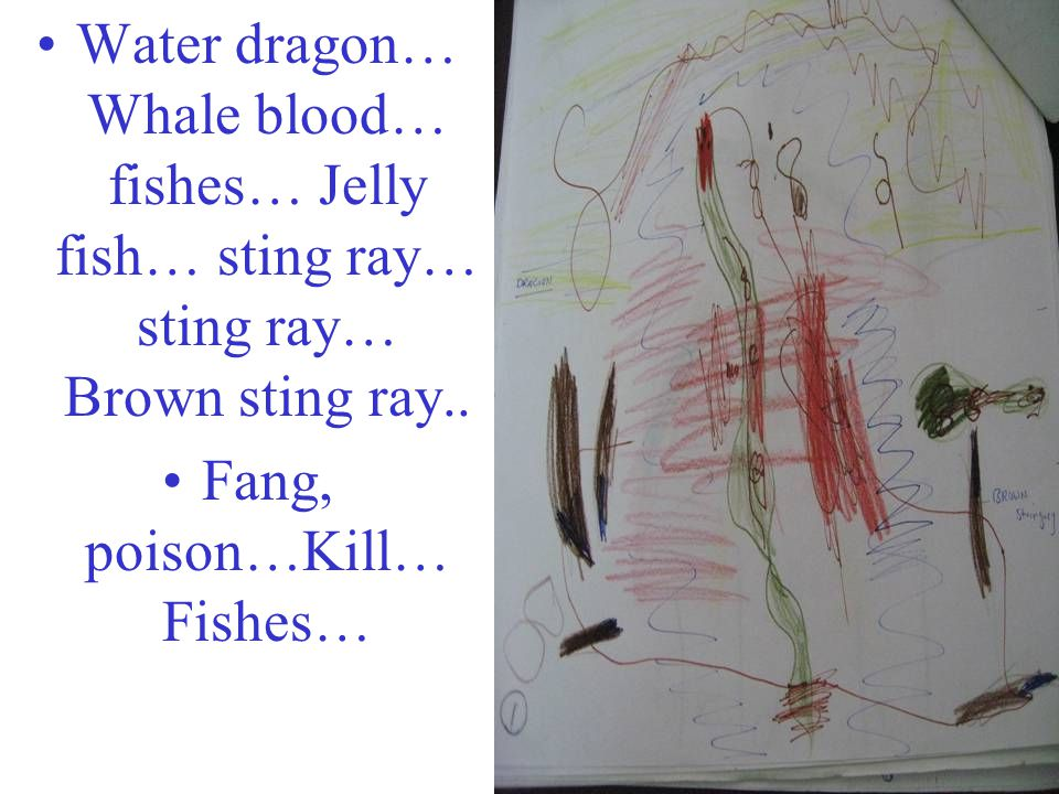 Water dragon… Whale blood… fishes… Jelly fish… sting ray… sting ray… Brown sting ray.. Fang, poison…Kill… Fishes…