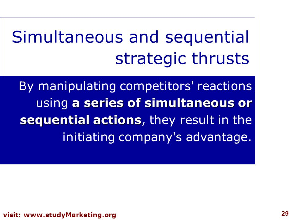 29 visit: www.studyMarketing.org Simultaneous and sequential strategic thrusts a series of simultaneous or sequential actions By manipulating competit