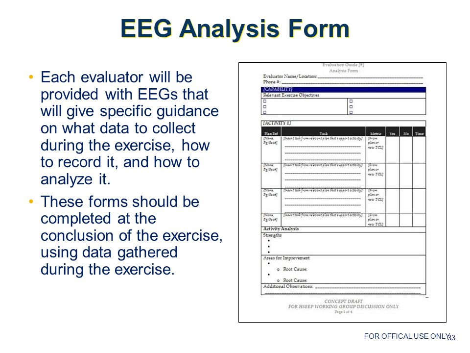 FOR OFFICAL USE ONLY EEG Analysis Form Each evaluator will be provided with EEGs that will give specific guidance on what data to collect during the exercise, how to record it, and how to analyze it.