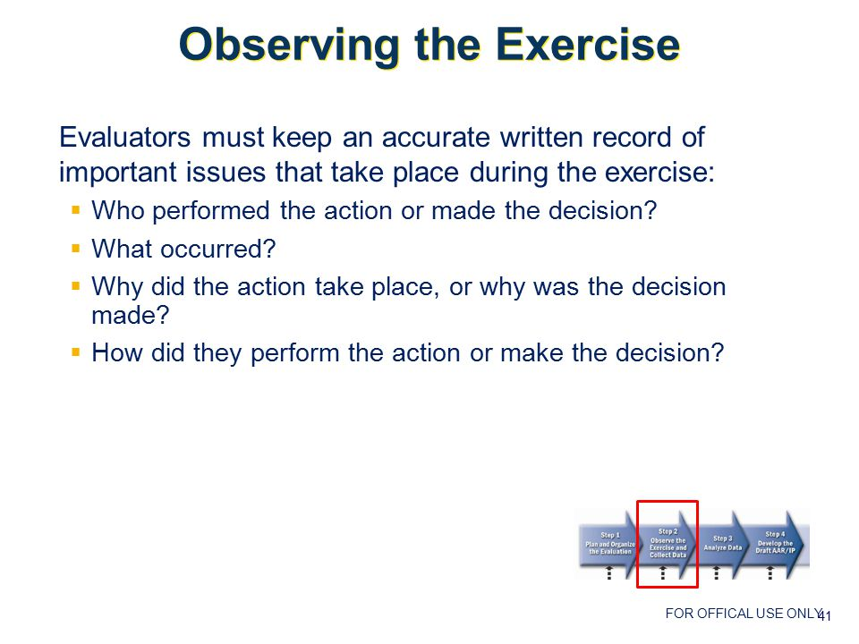 FOR OFFICAL USE ONLY Observing the Exercise Evaluators must keep an accurate written record of important issues that take place during the exercise:  Who performed the action or made the decision.