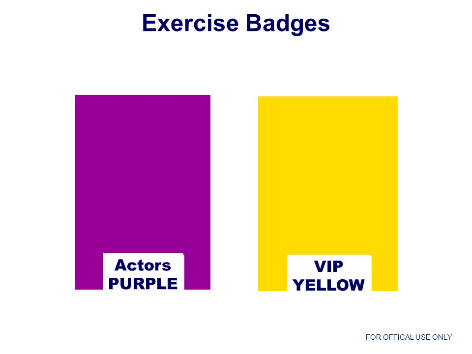 FOR OFFICAL USE ONLY Actors PURPLE Actors PURPLE VIP YELLOW VIP YELLOW Exercise Badges