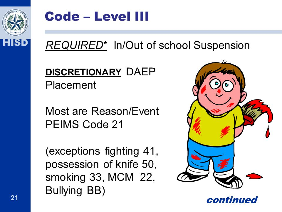 21 HISD REQUIRED* In/Out of school Suspension DISCRETIONARY DAEP Placement Most are Reason/Event PEIMS Code 21 (exceptions fighting 41, possession of