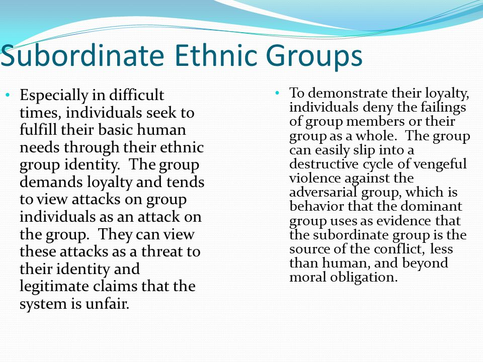 Subordinate Ethnic Groups Especially in difficult times, individuals seek to fulfill their basic human needs through their ethnic group identity. The
