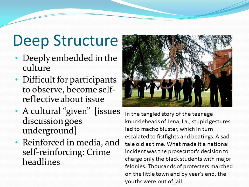 """Deep Structure of Devaluation Deeply embedded in the culture Difficult for participants to observe, become self- reflective about issue A cultural """"gi"""
