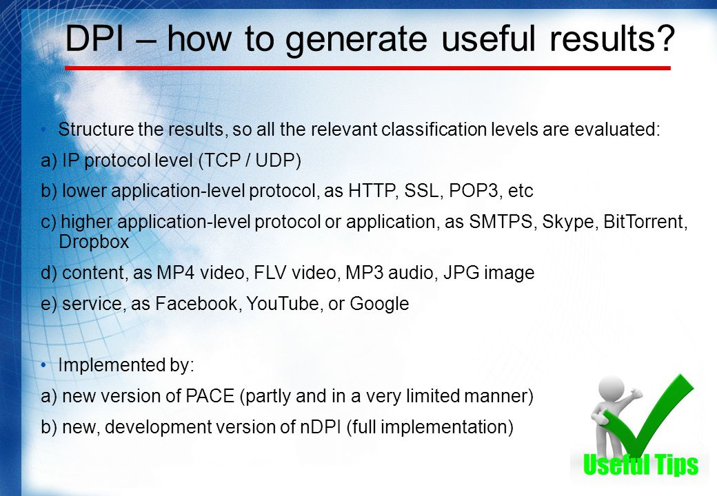 DPI – how to generate useful results.
