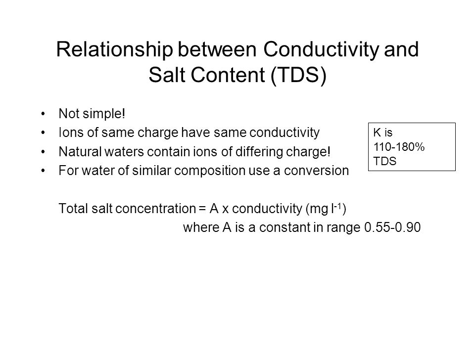 Relationship between Conductivity and Salt Content (TDS) Not simple.