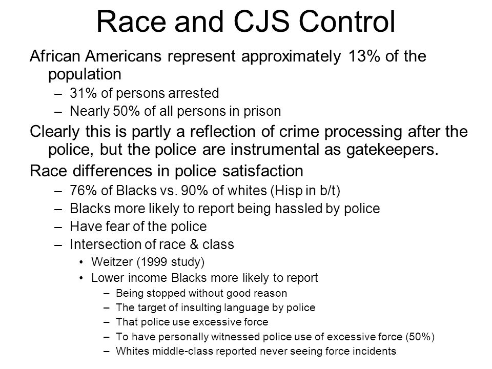 Race and CJS Control African Americans represent approximately 13% of the population –31% of persons arrested –Nearly 50% of all persons in prison Clearly this is partly a reflection of crime processing after the police, but the police are instrumental as gatekeepers.