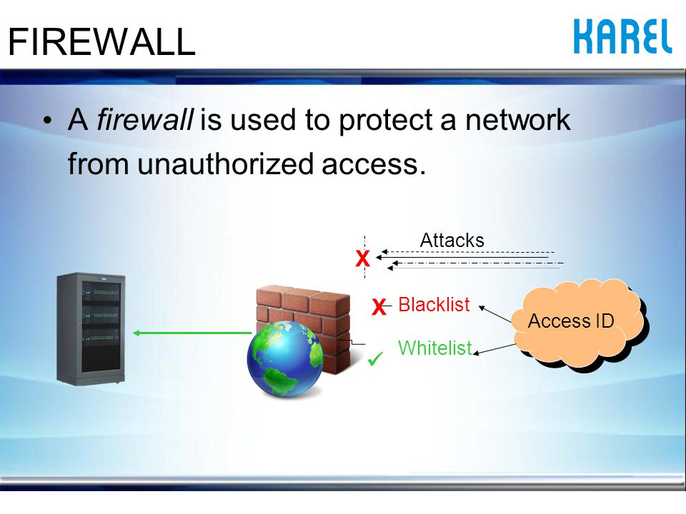 FIREWALL A firewall is used to protect a network from unauthorized access.