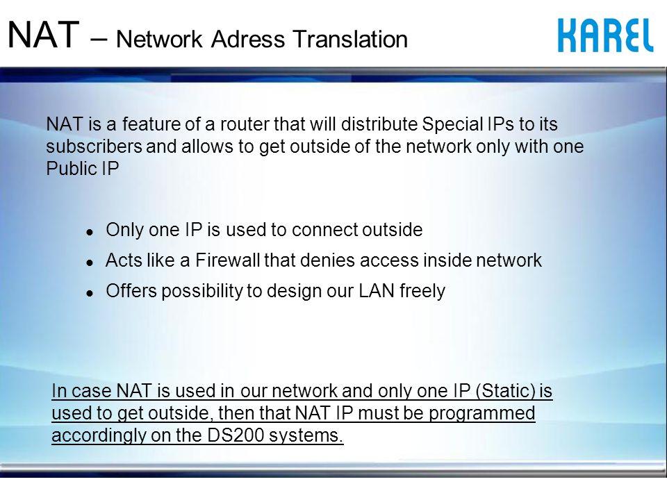 NAT – Network Adress Translation Karel IP Phone V Router global static IP address: 88.176.12.87 Router local IP address:192.168.2.1 IP Phone local IP address:192.168.2.22 INTERNET Router Call start My Port: 5004 My IP: 192.168.2.22 NAT My Port: 5004 My IP: 88.176.12.87 INTERNET Ans.