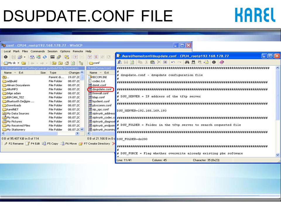 DSUPDATE.CONF FILE NOTE: Details of this application are explained in the Maintenance Document .