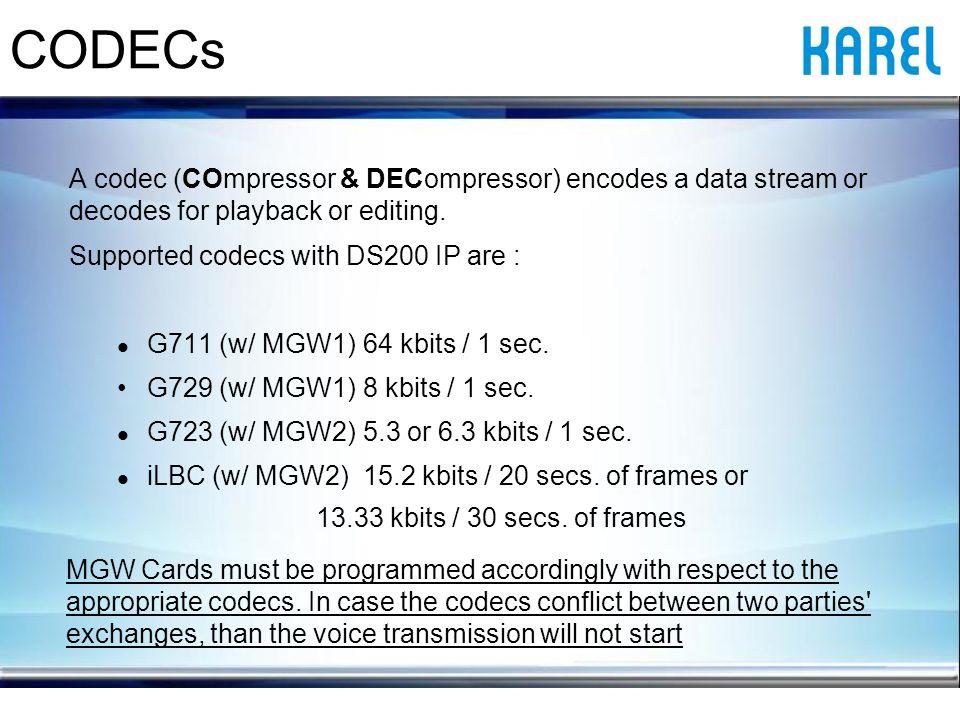 A codec (COmpressor & DECompressor) encodes a data stream or decodes for playback or editing.