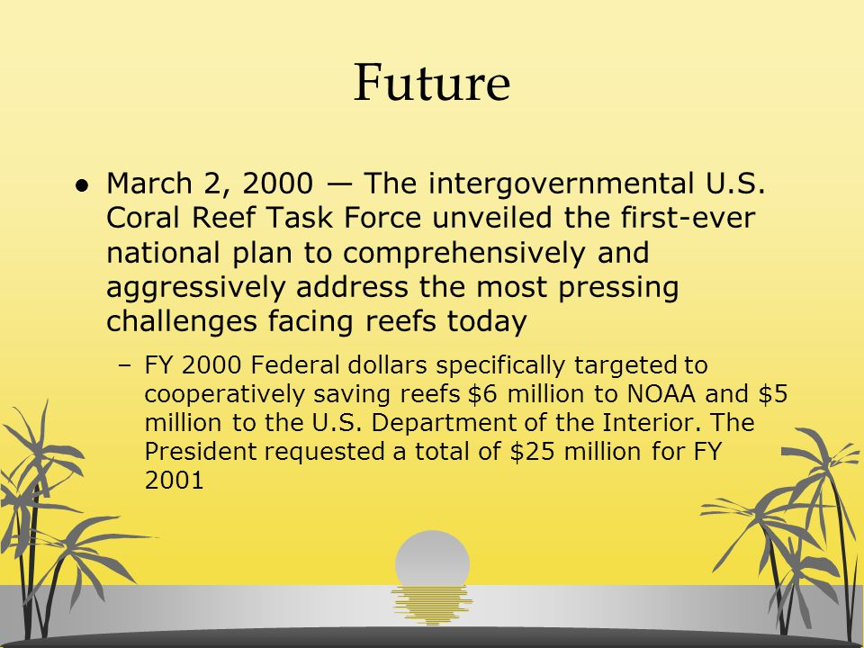 Future l March 2, 2000 — The intergovernmental U.S. Coral Reef Task Force unveiled the first-ever national plan to comprehensively and aggressively ad