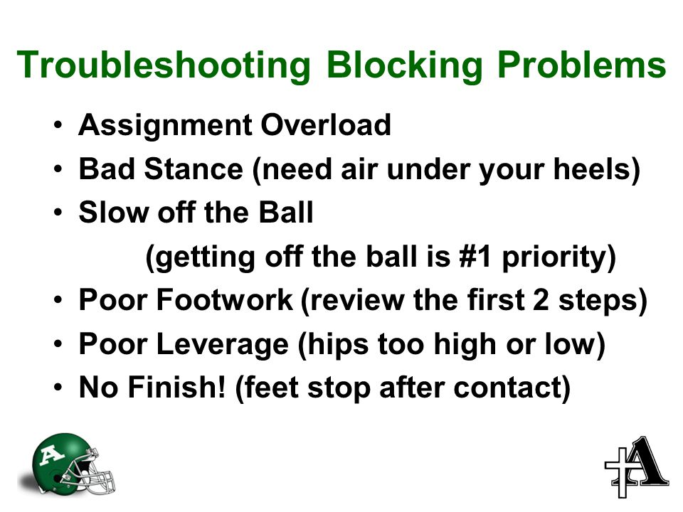 Troubleshooting Blocking Problems Assignment Overload Bad Stance (need air under your heels) Slow off the Ball (getting off the ball is #1 priority) Poor Footwork (review the first 2 steps) Poor Leverage (hips too high or low) No Finish.